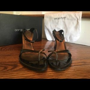 Sergio Rossi black/silver wedge sandals Size 40.5